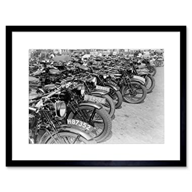 The Art Stop Photo Vintage Transport Old Motorbikes Motorcycles Framed Print F12x9870