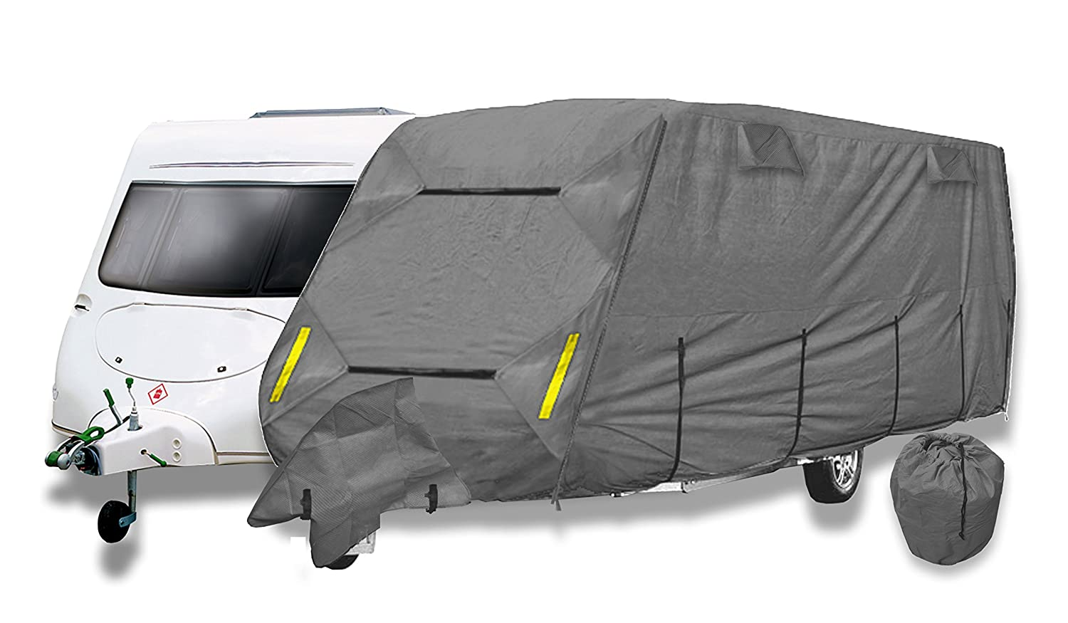 Purely Outdoors CoverPRO Premium Breathable 4-Ply Grey Caravan Cover With Free Hitch Cover (21-23ft) Crusader