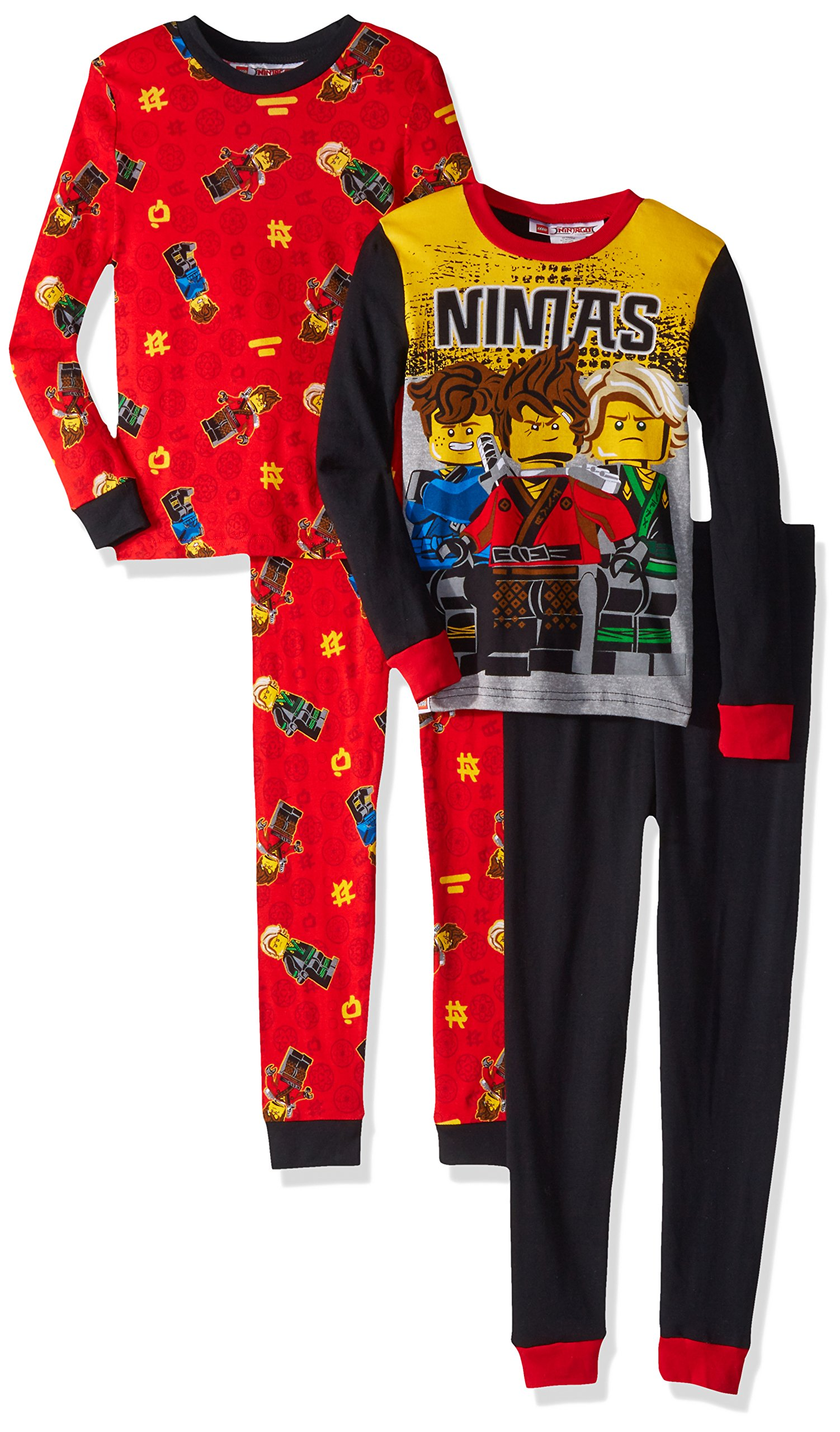 LEGO Big Boys' Ninjago 4-Pc Pajama, 2 Sets Sleeve, Long Pant, Black, 8