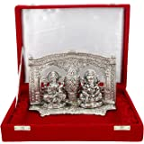 International Gift Silver Plated Laxmi Ganesh Murti With Velvet Box Packing (16 Cm, Silver)