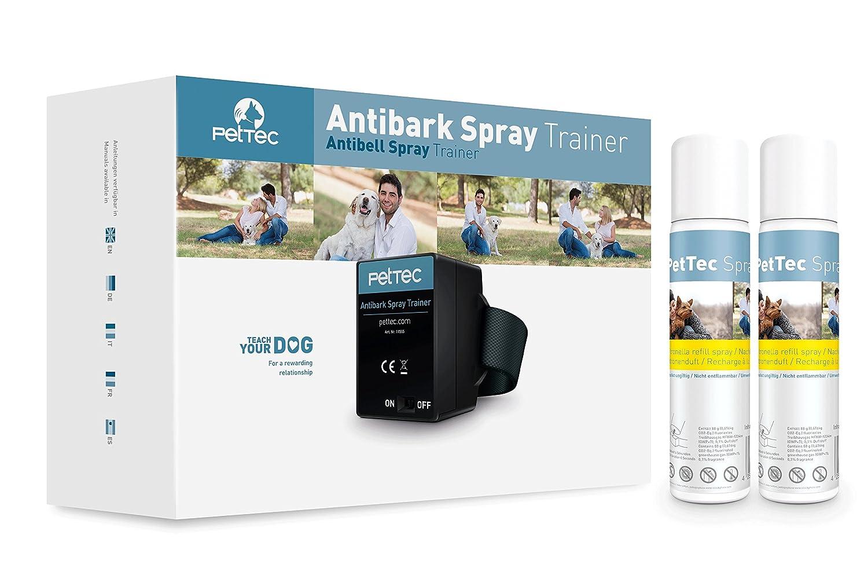 PetTec Antibark Spray Trainer, Collier Anti-aboiement Automatique + Spray x2 recharges (inodore) + Batteries 15145
