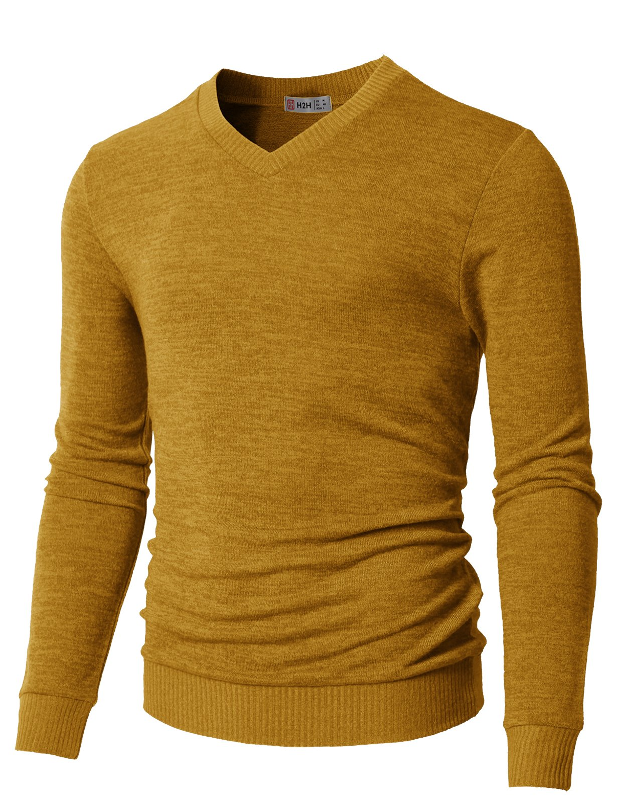 H2H Mens City Casual Knitwear Casual Shawl Collar Cardigan Sweaters Mustard US S/Asia M (CMOSWL018) by H2H