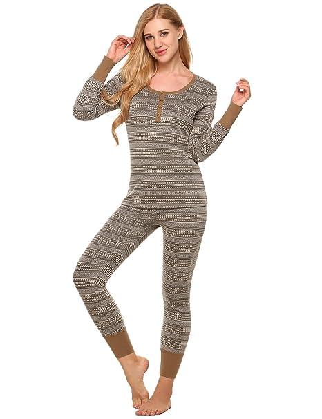 Amazon.com: L amore térmico de manga larga pijamas conjunto ...