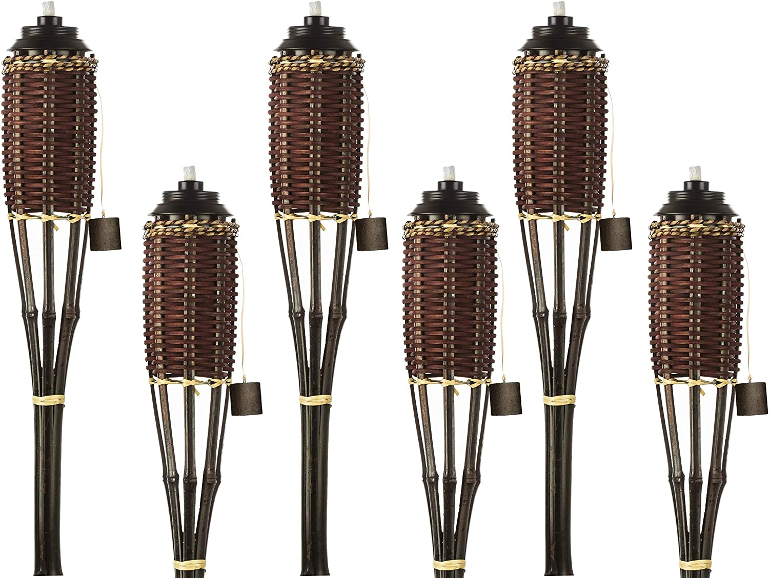 Bamboo Torches; Decorative Torches; Fiberglass Wicks; Extra-Large (16oz) Metal Canisters for Longer Lasting Burn; Stands 59