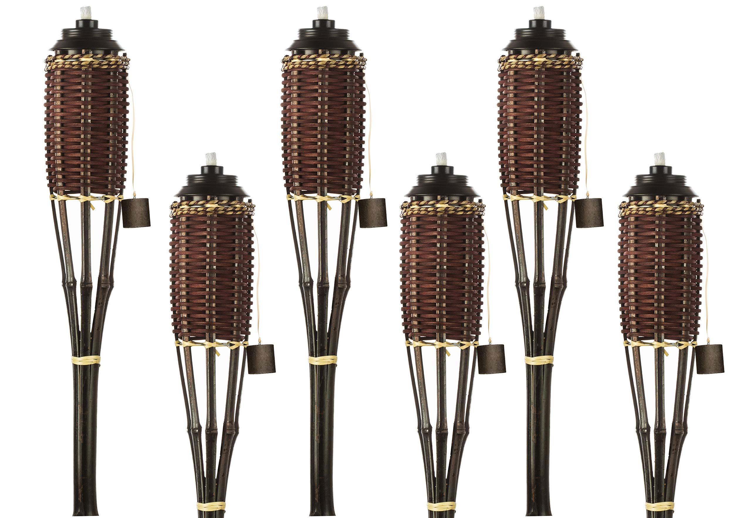 Brown Weave Bamboo Torches; Decorative Torches; Fiberglass Wicks; Extra-Large (16oz) Metal Canisters for Longer Lasting Burn; Stands 59'' Tall (6 Pack)