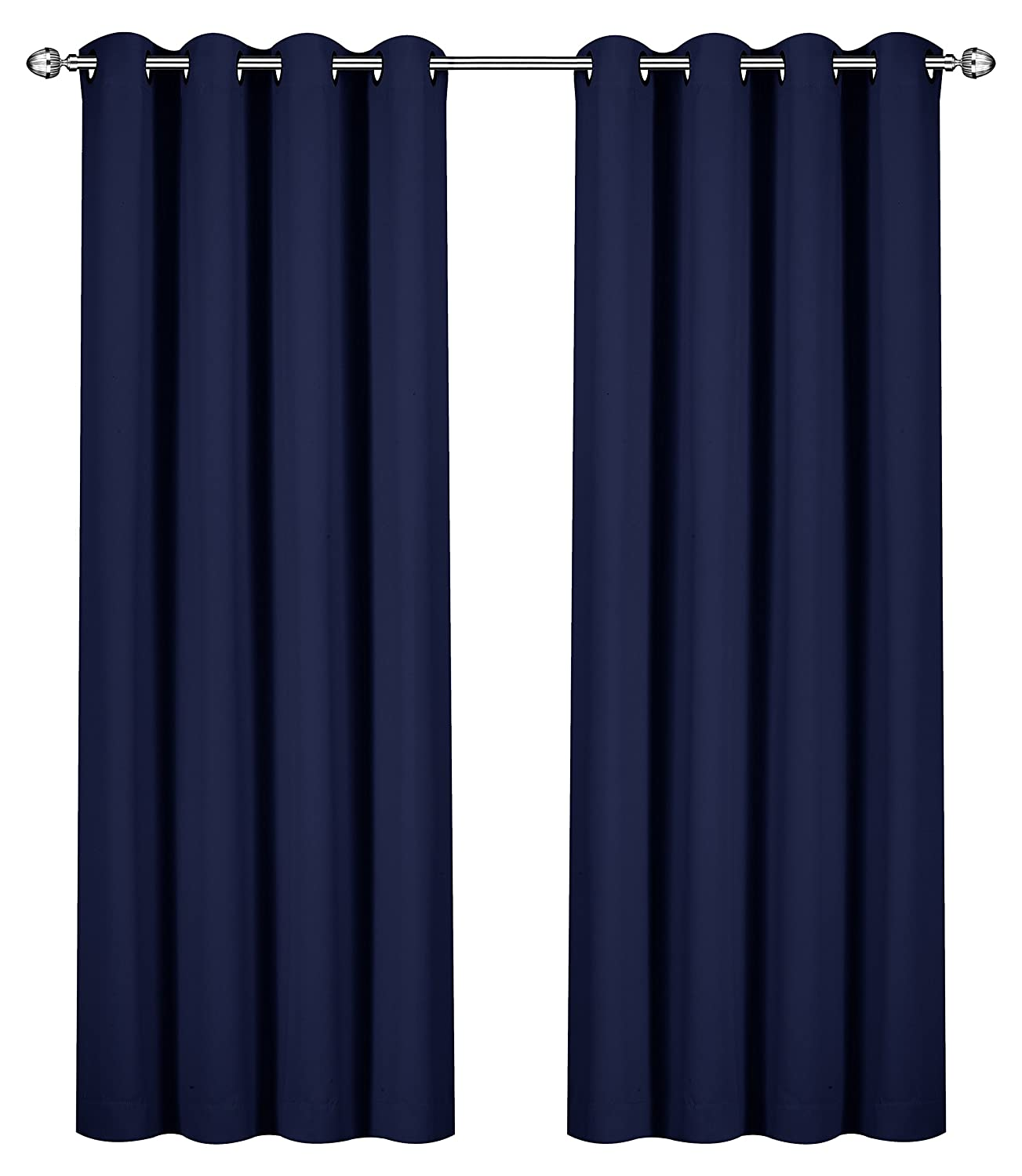 Utopia Bedding Blackout Room Darkening and Thermal Insulating Window Curtains/Panels/Drapes - 2 Panels Set - 8 Grommets per Panel - 2 Tie Backs Included (Navy, 52 x 84 Inches with Grommets)