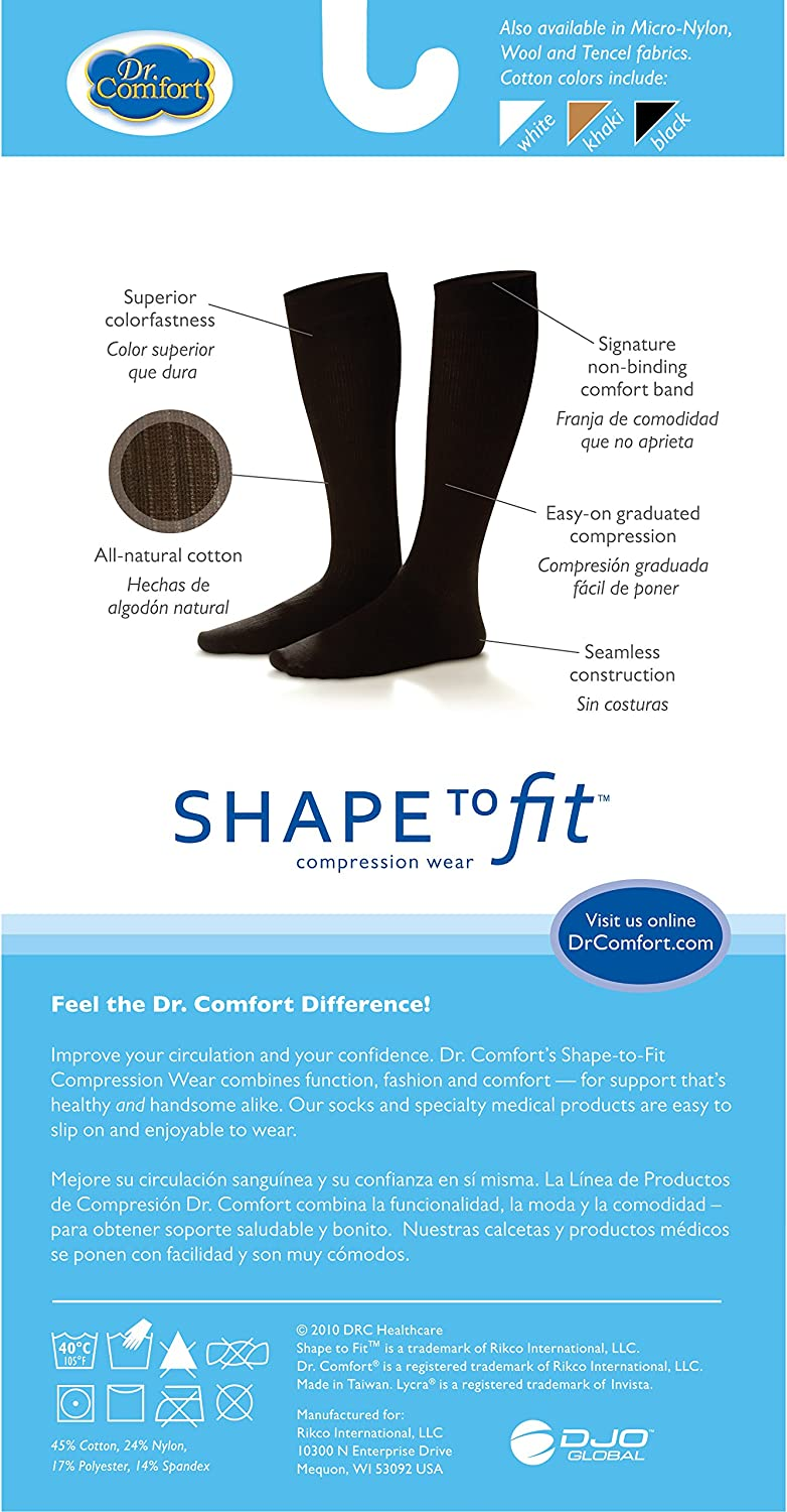 Small 10-15 mmHg Dr White Comfort Mens Cotton Dress Graduated Compression Knee-High Sock