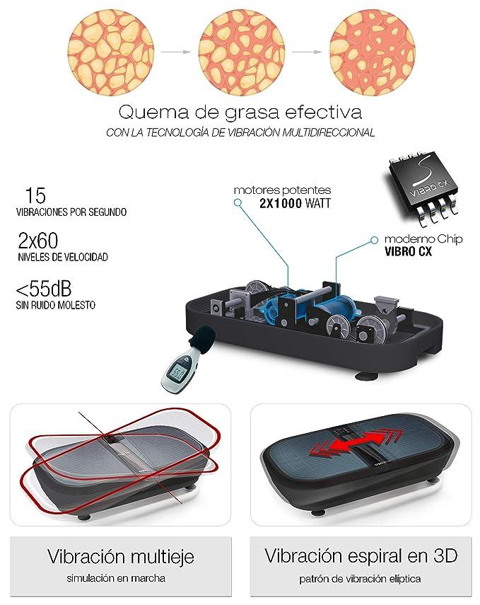 Sportstech Plataforma vibratoria para Adelgazar VP300,tecnología oscilacion 3D, 2 Motores de 1000W de Potencia + música por Bluetooth, Superficie ...