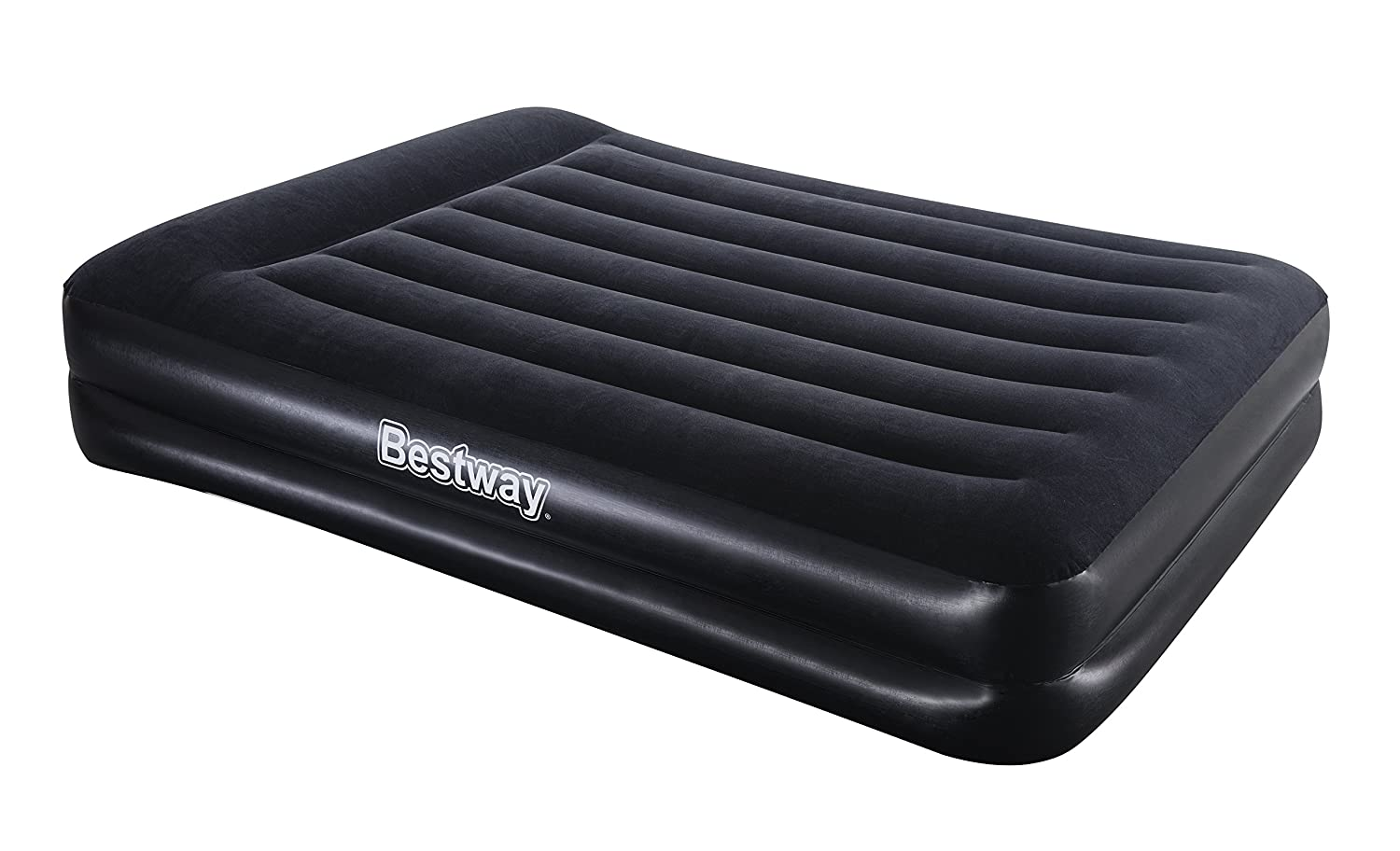 Bestway Airbeds Flocked Aeroluxe Quick Inflation Indoor Air Mattress with Built-In Pump/Pillow and Travel Bag, Black, Queen BW67403GB