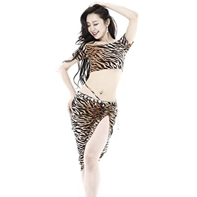 Belly Dance Dress Oriental Dance Cotton Elastic Soft Comfortable Sweat Absorption Summer T Shirt Tiger Print Casual Skort Skirt