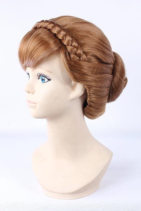 lavés Cabello Frozen Disney Princess Anne Brown peluca con 2 trenzas Lolita peluca