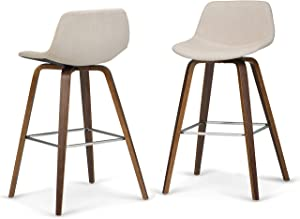 SIMPLIHOME Randolph Mid Century Modern Bentwood Counter Height Stool (Set of 2) in Natural Linen Look Fabric