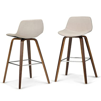 Strange Simpli Home Axcran26N Nl Randolph Mid Century Modern Bentwood Counter Height Stool Set Of 2 In Natural Linen Look Fabric Pabps2019 Chair Design Images Pabps2019Com