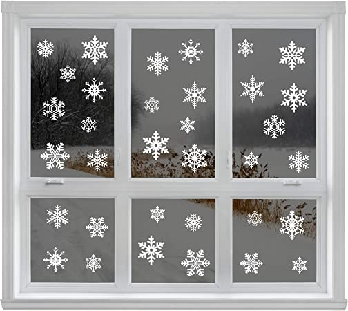 80PACK Reusable Christmas Window Snowflake Stickers Clings Decal Decorations UK