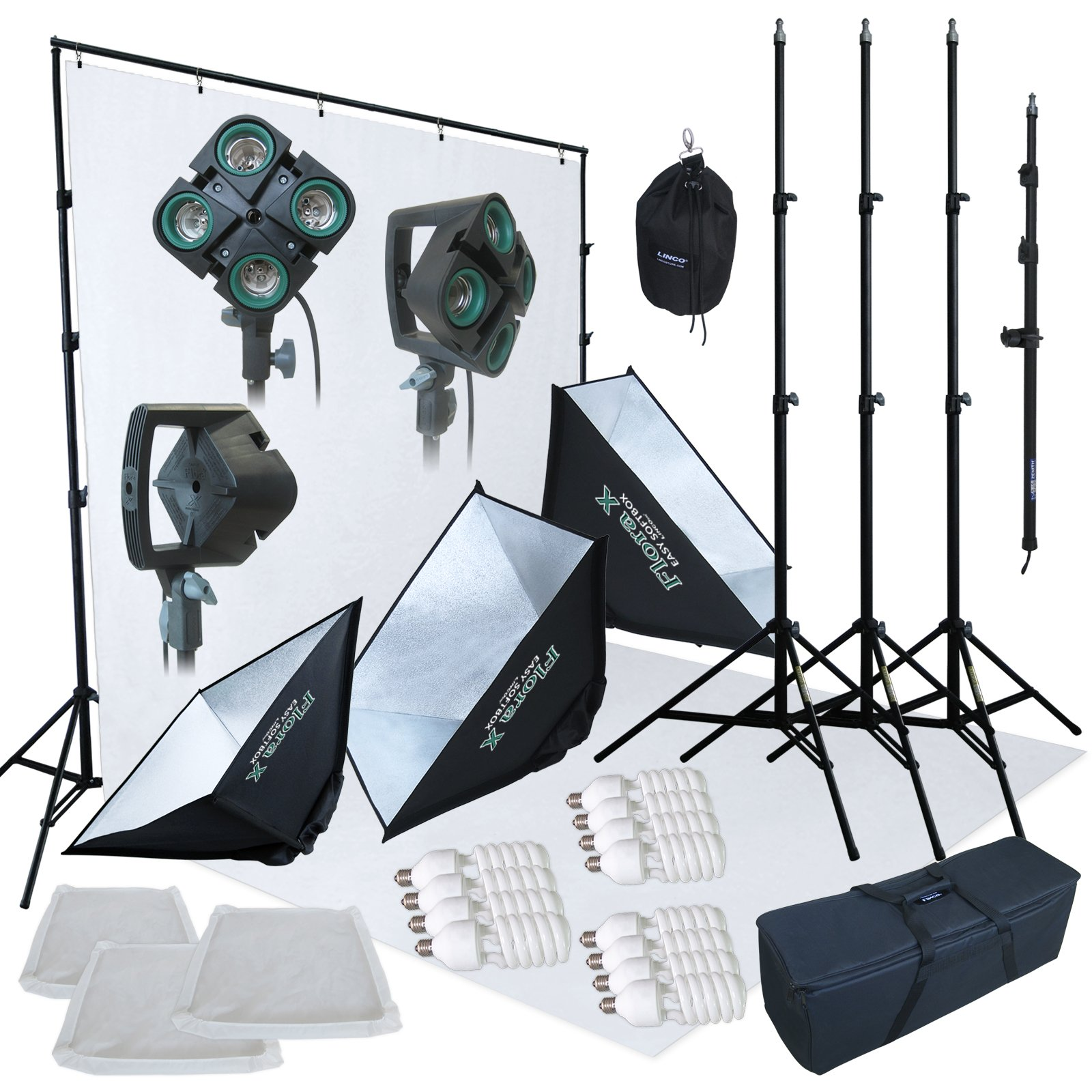 Linco Lincostore 2400 Watt Photo Studio Lighting 10x20ft White Backdrop Photography Background Stand Light Kit AM144-W by Linco (Image #2)