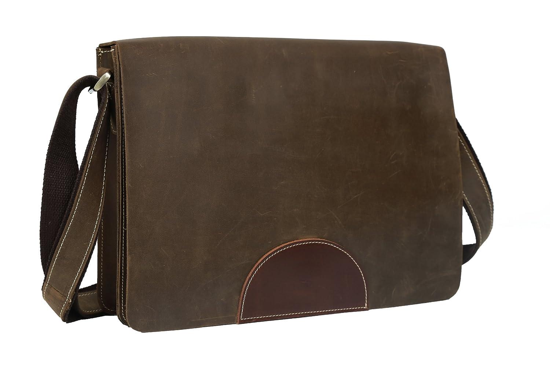 Tiding Men's Vintage Genuine Leahter Crazy Horse Casual Leisure Satchel Tablet Messenger Shoulder Bag Brown