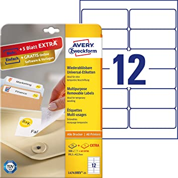AVERY Zweckform Universal Etiketten 99,1 x 42,3 mm weiß 1.200 Etiketten