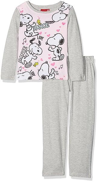 FABTASTICS Peanuts Snoopy, Pijama para Niñas, Gris (Grey 001), 4 Años