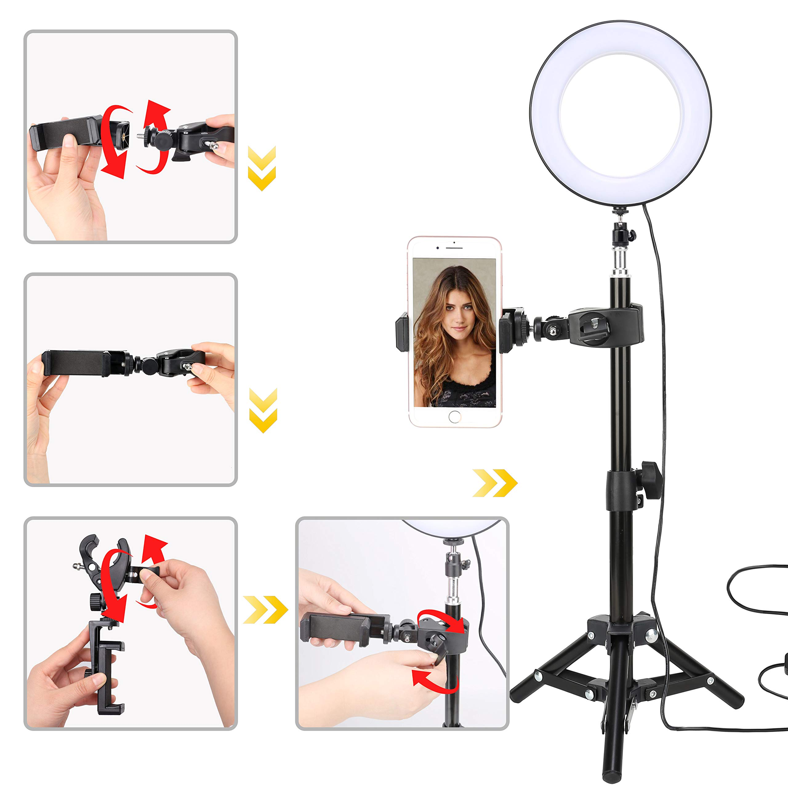 Selfie Led Ring Light 6\'\' with Tripod Stand & Cell Phone Holder for Live Stream/Makeup, Mini Camera Ringlight for YouTube Video/Photography Compatible with iPhone Xs Max XR Android