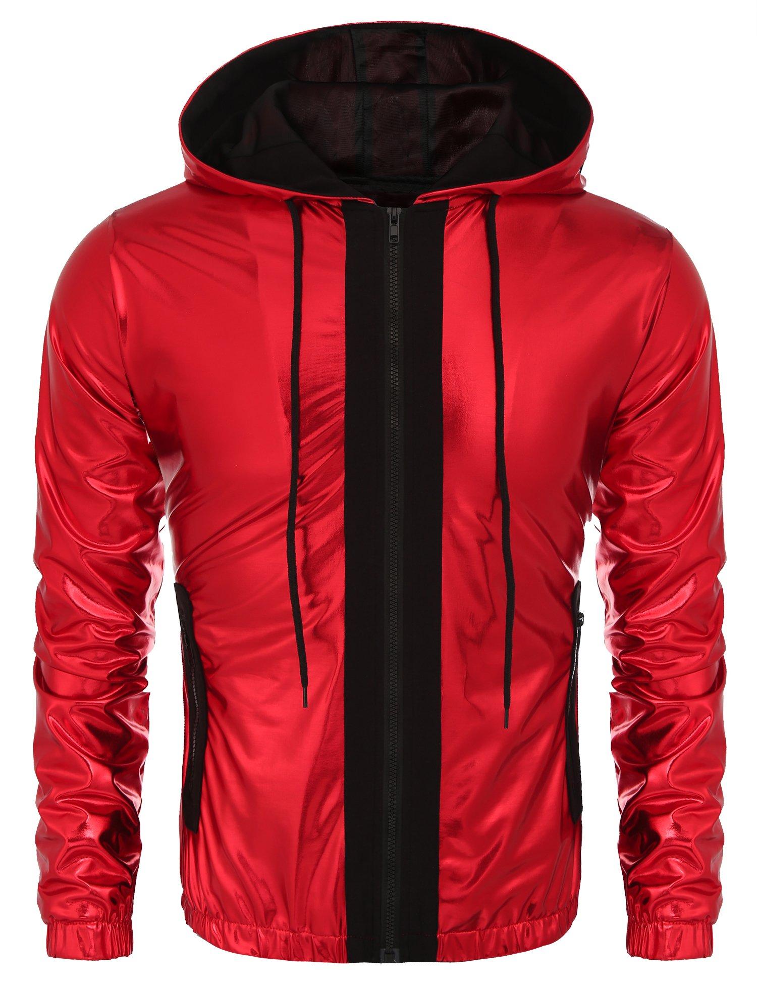 COOFANDY Mens Metallic Nightclub Style Hooded Varsity Baseball Bomber Jacket(L,Red)