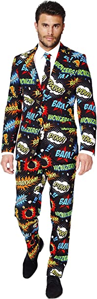 Pants And Tie in Funny Designs Abito da Uomo OppoSuits Prom Suits for Men Comes with Jacket Pac-Man