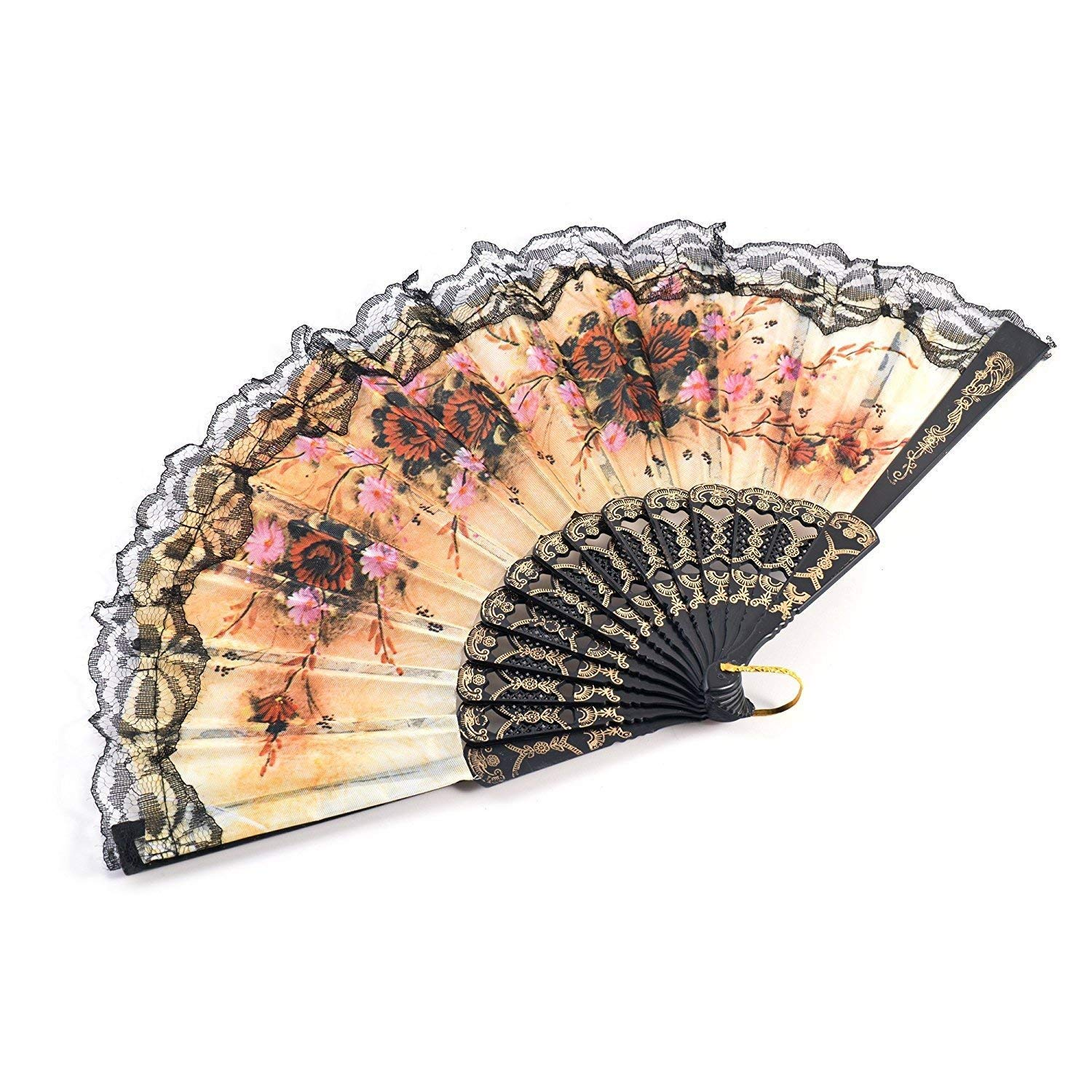 woaiwo-q Spanish Floral Folding Hand Fan Flowers Pattern Lace Handheld Fans Size 9'', Pack of 50 Random Color Suitable For Wedding Dancing Church Party Gifts