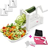 WonderVeg - Spiral Vegetable Slicer - Veggie Spiralizer - Zucchini Spaghetti Pasta Noodle Maker - Cleaning Brush, Mini Recipe Book, 6 Spare Parts Included