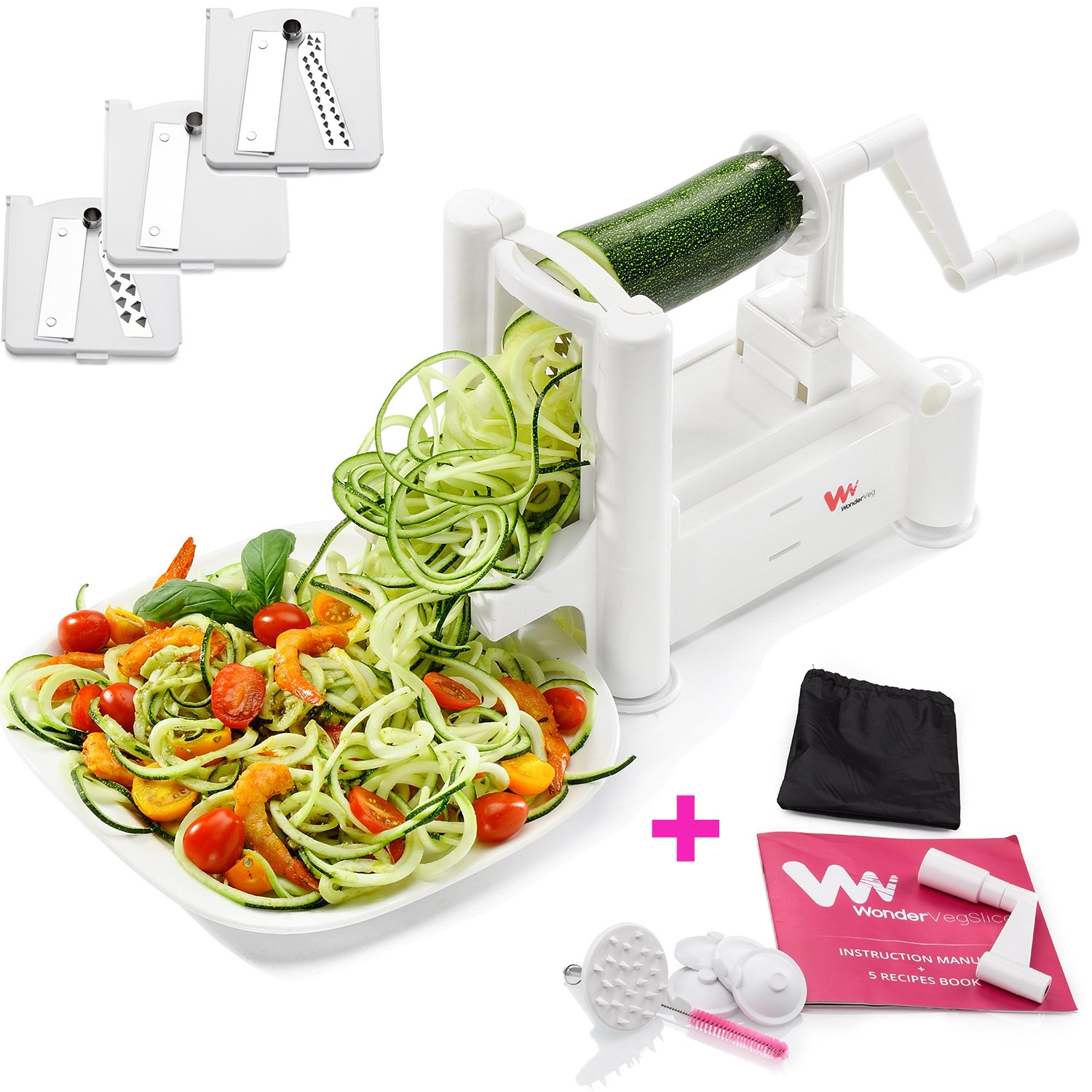 Amazon mandolines slicers home kitchen egg slicers more wonderveg veggie spiralizer vegetable slicer zucchini spaghetti pasta noodle maker cleaning brush fandeluxe Image collections