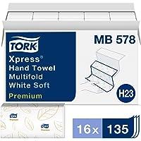 """Tork MB578 Soft Xpress Toalla de mano de papel multifold, 3 paneles, 2 capas, 9.125 """"de ancho x 10.875"""" de largo, blanco…"""
