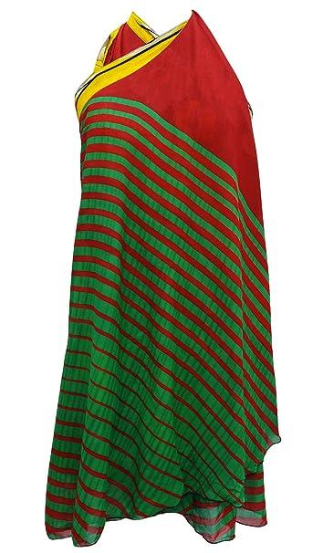 Alineada de la vendimia Georgette magia falda del abrigo Sari Halter más la corto 32