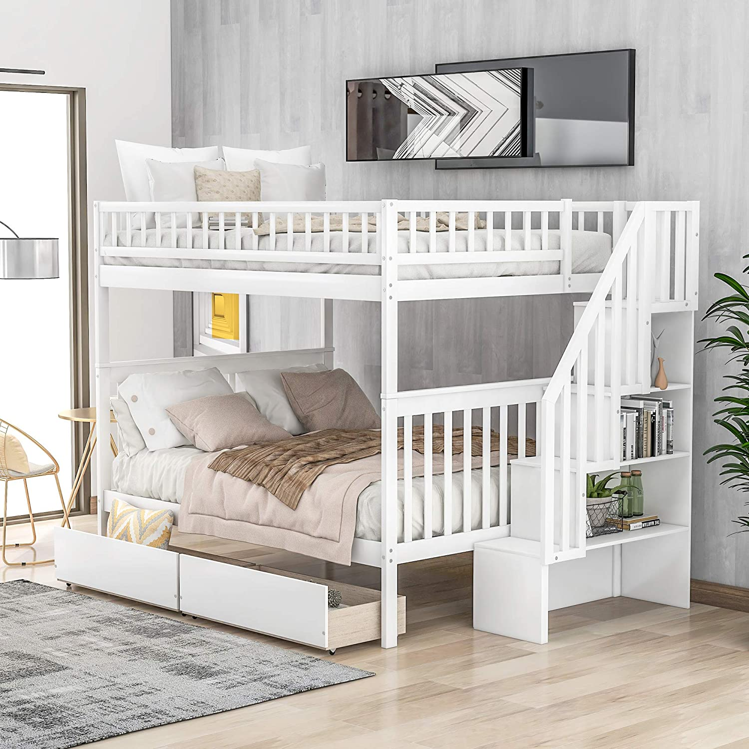 Amazon Com Full Over Full Bunk Bed With Storage Drawers Mission Style Wood Storage Full Bunk Bed Frame For Kids And Teens White Kitchen Dining