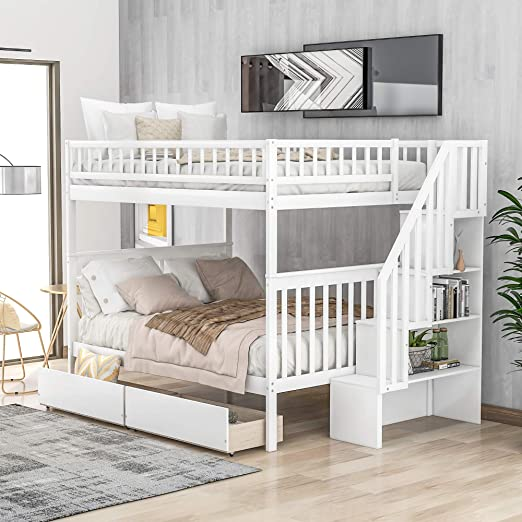 Amazon Com Lumisol Kid S Full Over Full Bunk Beds With Stairs 2 Drawers And Storage Space Saving Design Bedroom Furniture No Box Spring Needed White Kitchen Dining