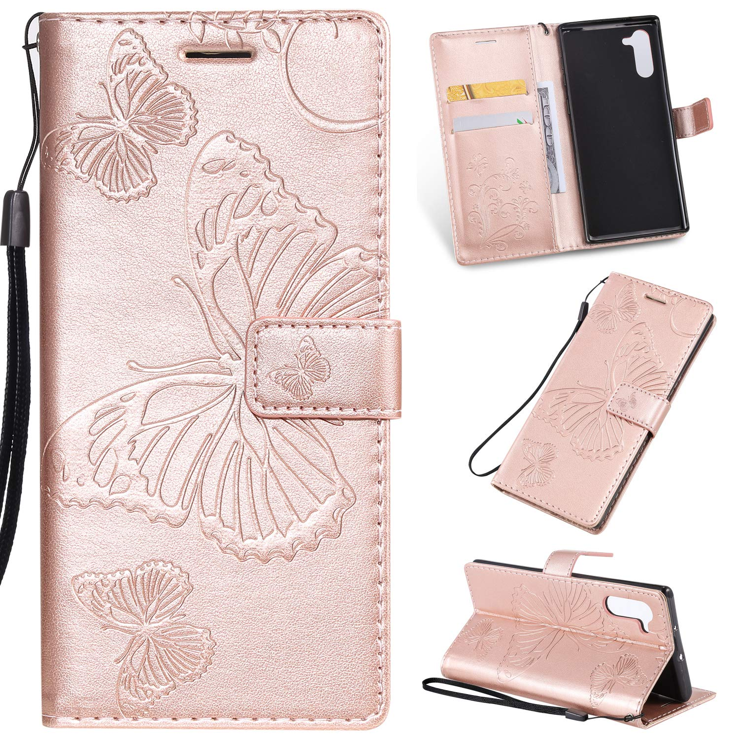 Tznzxm Galaxy Note 10 Case, Luxury 3D Embossed Butterfly PU Leather Magnetic Wallet Protective Flip Kickstand Cover with Credit Card Slots and Wrist Wallet for Samsung Galaxy Note 10 Rose Gold by Tznzxm