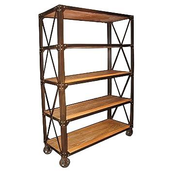 Marvelous Chorley Industrial Rustic Metal Wood Rolling Bookcase With Wheels