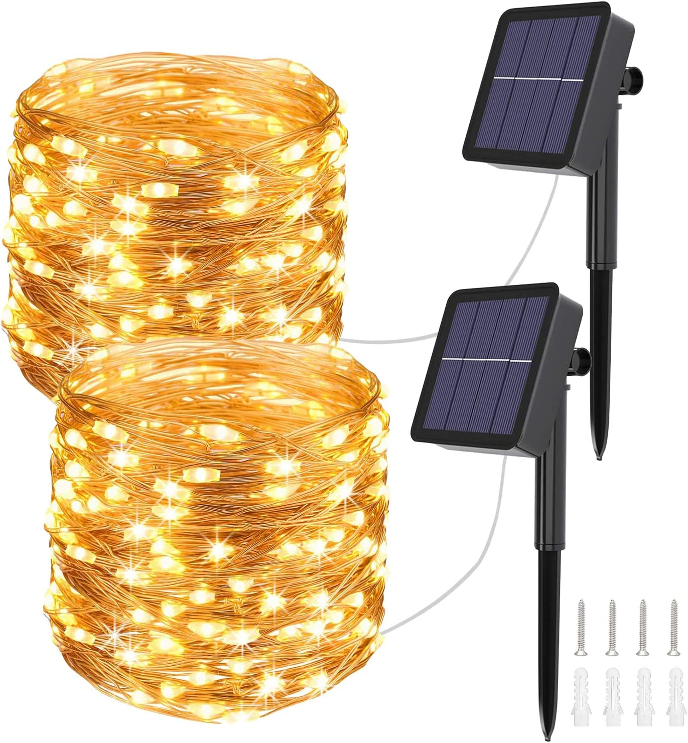 Solar String Lights Outdoor Garden Lights 76ft 200 LED Fairy Lights 8 Modes Waterproof Copper Wire Light for Party Patio Yard Christmas Trees Wedding Halloween (Warm White)