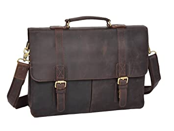 Porte documents en cuir véritable pour homme millésime marron sac