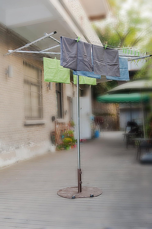 drynatural paralelo secador plegable tendedero de pared con 4 brazos W/estaca, cubierta protectora, juego de bolsa y piquetas: Amazon.es: Hogar