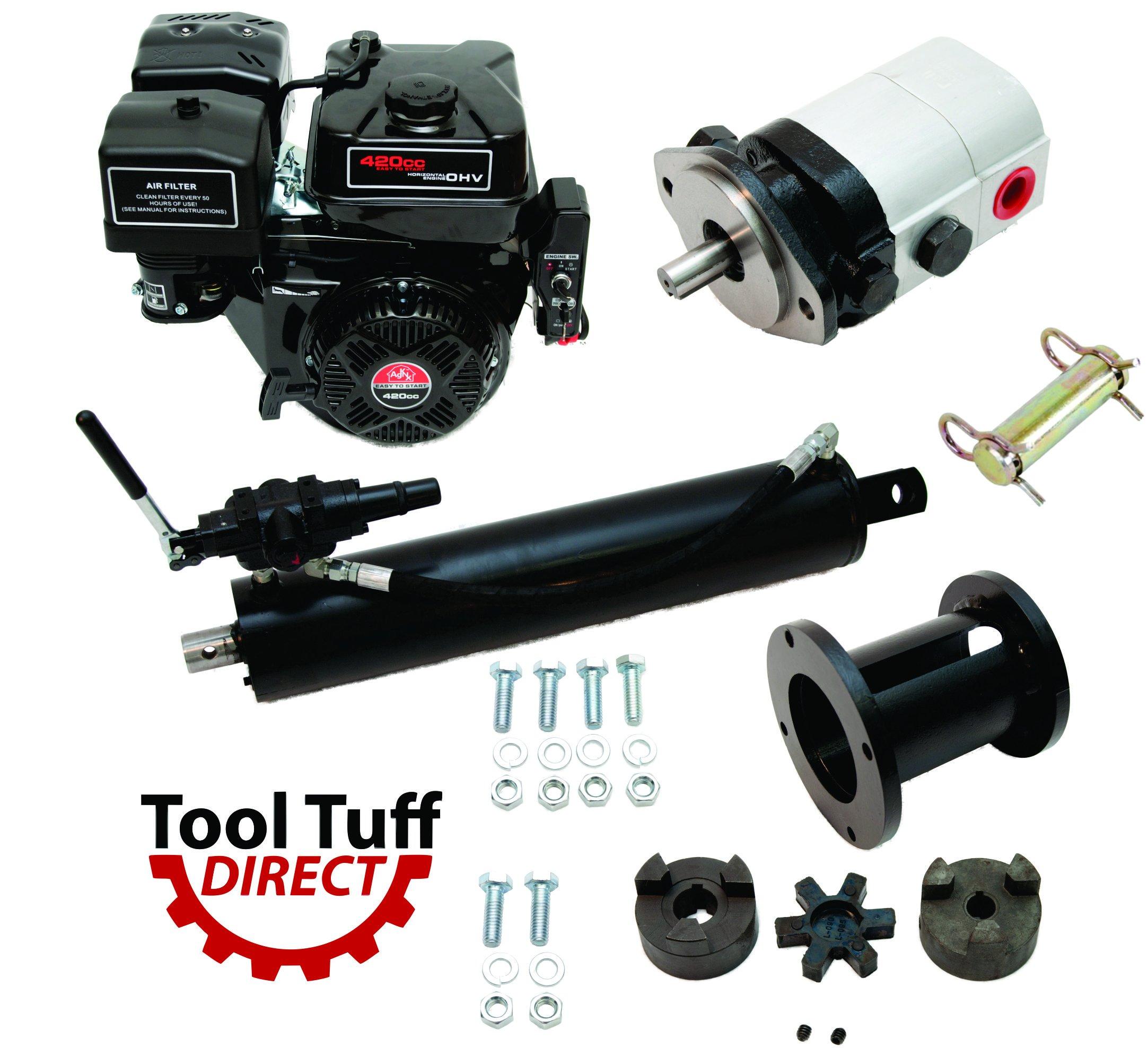 Tool Tuff Log Splitter Build Kit - 15 hp Electric-Start Engine, Mounting Bracket, 28 GPM Pump, Auto-Return Valve, LO100 Coupler, 5'' Cylinder & Hardware