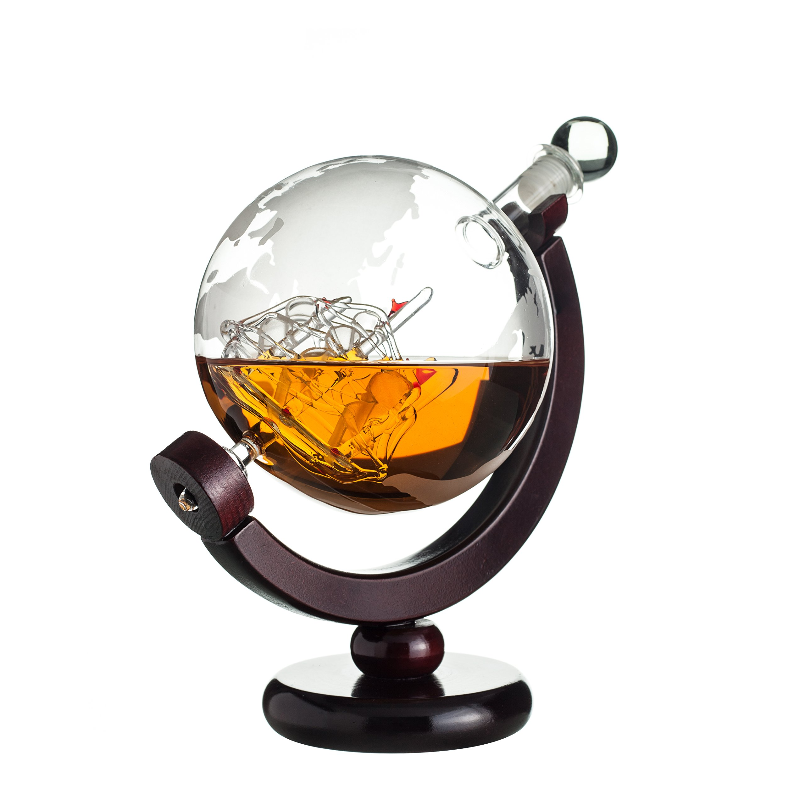 Whiskey Globe Decanter with Antique Dark Finished Wood Stand Bar Funnel 850ml Perfect Gift Set Scotch Liquor Bourbon Wine Vodka by ERAVINO (Image #4)