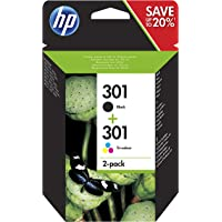 HP N9J72AE 301 Original Ink Cartridges Black and Tri-Colour (Cyan, Magenta, Yellow), Pack of 2