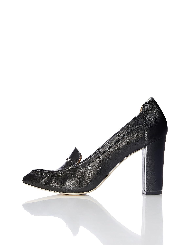 718ef63557011f FIND Mules Damen mit LoaferDesign und Breiter Sohle Schwarz Black 37 ...