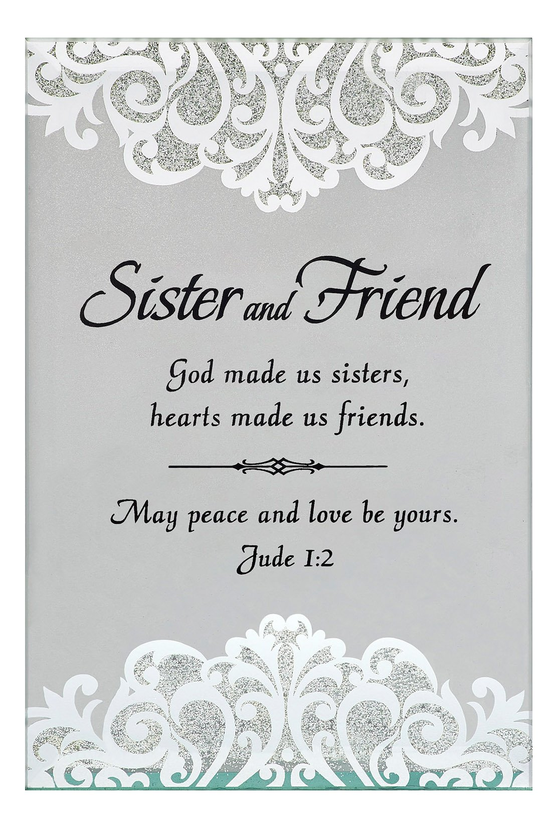 CB Gift Heartfelt Collection Sister And Friend Table Top Glass Tealight Holder