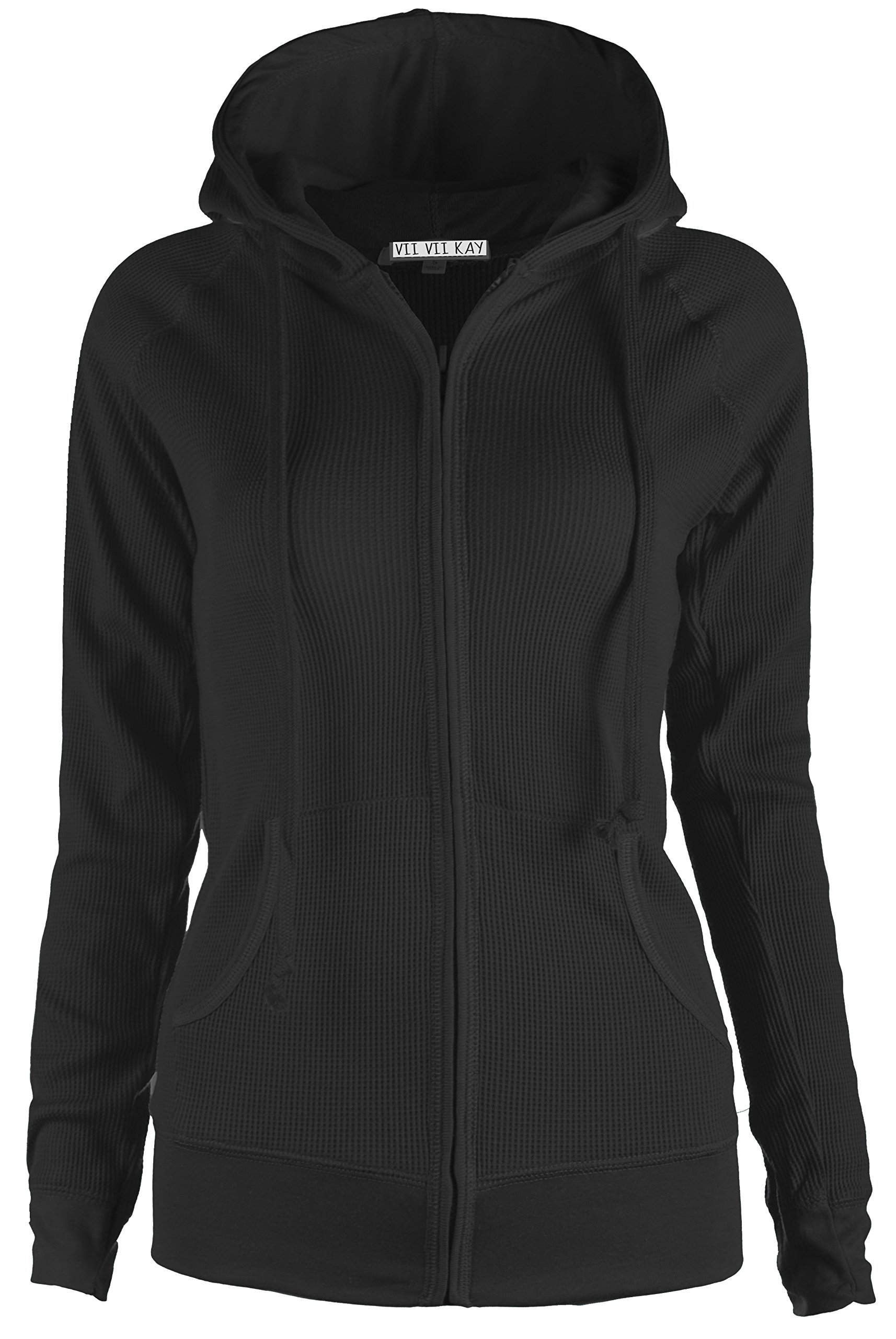 ViiViiKay Womens Casual Warm Thin Thermal Knitted Solid Zip-Up Hoodie Jacket BLACK,S