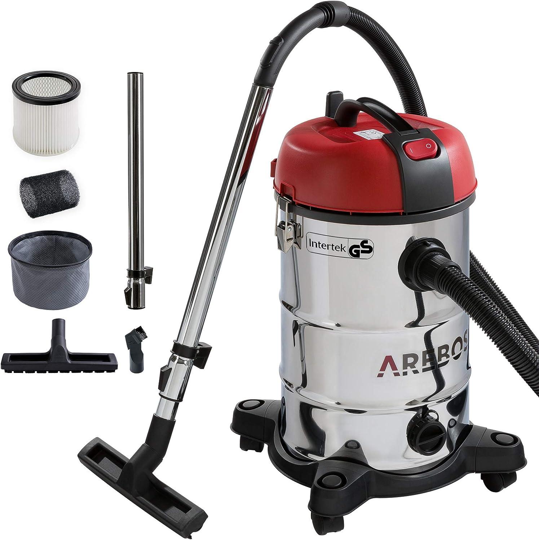 Arebos - Aspiradora industrial para limpieza en seco y húmedo (también se puede utilizar como aspirador de cenizas) Aspiradora 4 en 1: potencia 1800 W, volumen 30 l, acero inoxidable de alta