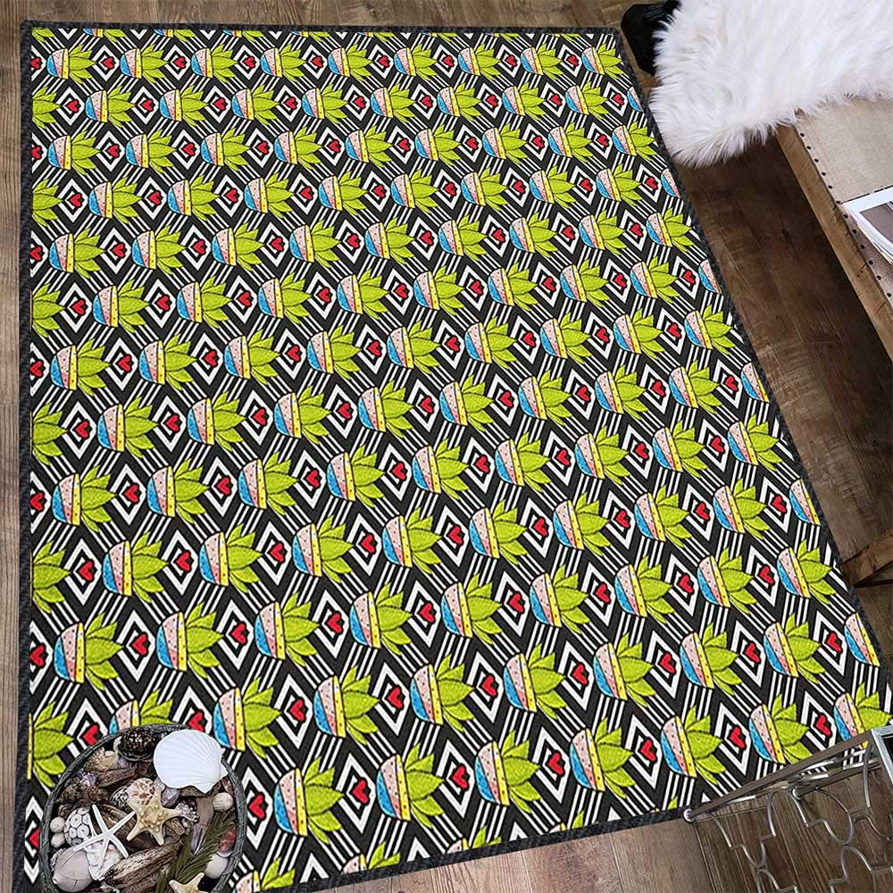 Cactus Decor Area Rug,Love Themed Geometric Background Diamond Pattern Rectangles with Plants in Pots Multicolor & Anti-Skid Multicolor 63''x94'' by Philip C. Williams
