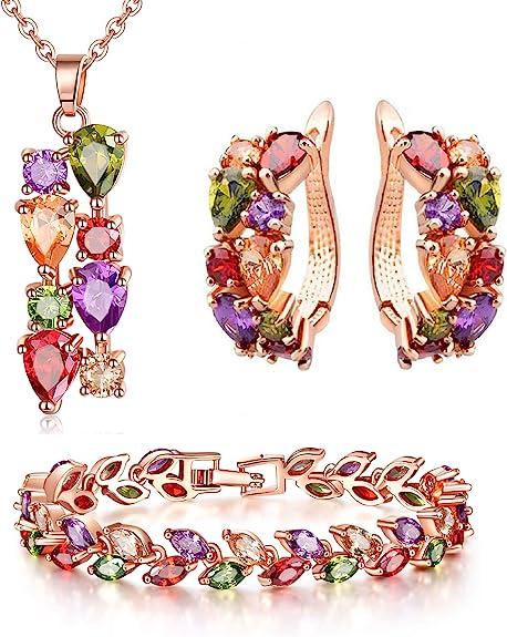 CARSINEL Mona Lisa Elementos Multicolores Zirconia Cúbica Aretes Pulsera Collar Conjunto de Joyas clásicas Regalo Ideal para Mujeres