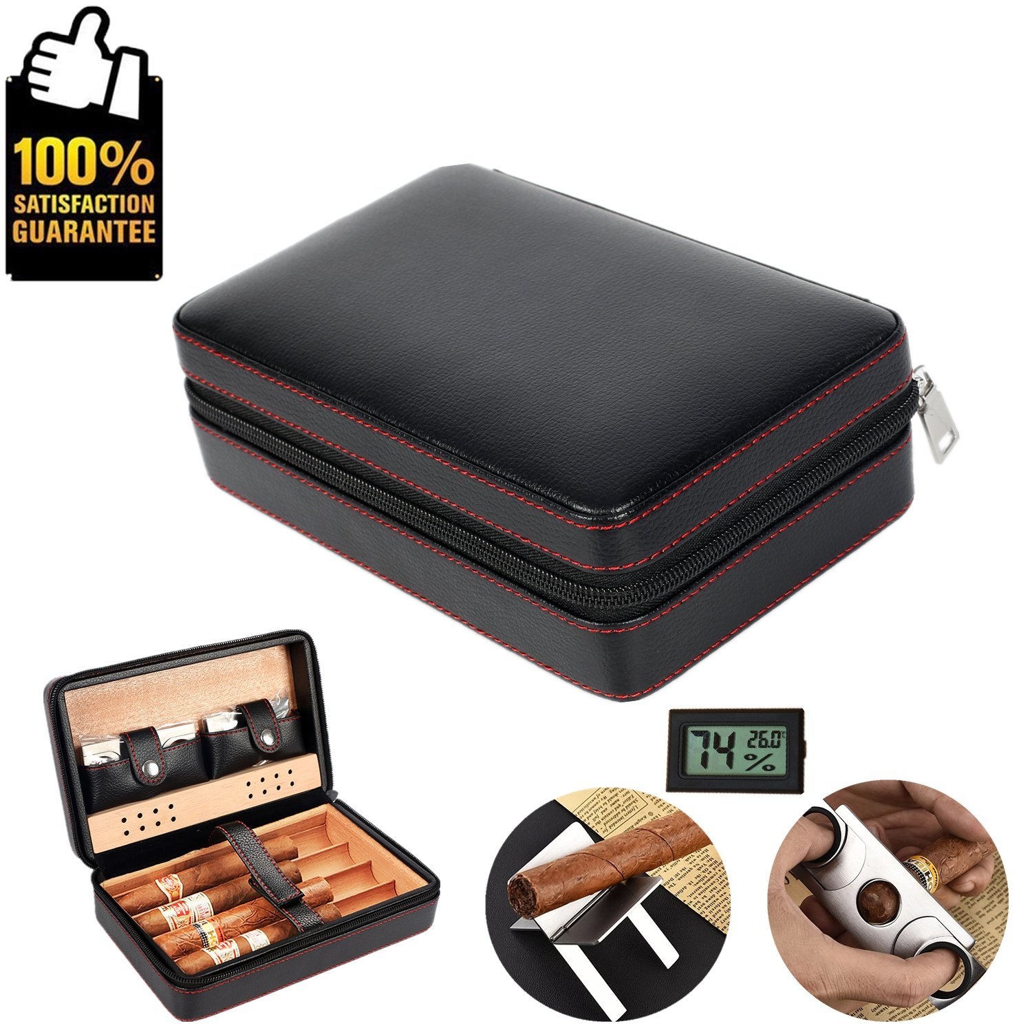 COMMODA Portable Genuine Leather Cedar Cigar Travel Case Cedar Humidor with Digital Hygrometer Cutter Stand Set Wooden Box for 4 Cigars