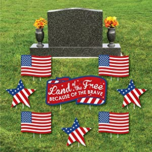 Patriotic - Yard Sign & Outdoor Lawn Cemetery Grave Decorations - Memorial Day Patriotic Yard Signs - Set of 8