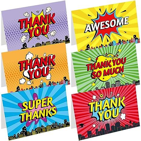 Amazon.com: Superhero – Tarjetas de agradecimiento, 36 notas ...