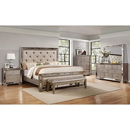 Amazon.com: Best Master Furniture B1980 Ava Mirrored 6 Pcs Bedroom ...